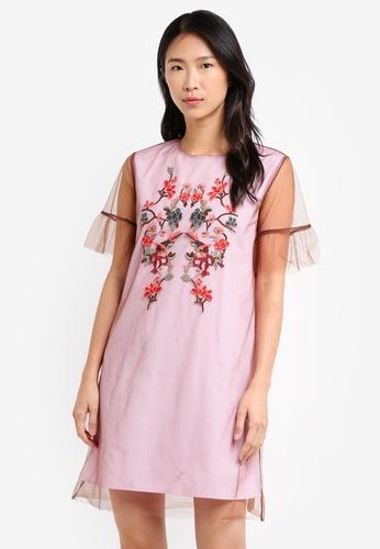 ZALORA pink Double Layer Tulle Tunic Dress 3C06BAA066E37AGS_1