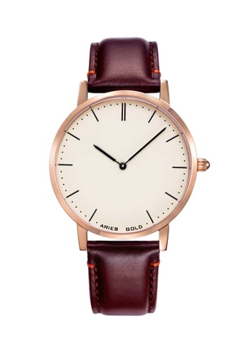 Aries Gold brown Aries Gold Urban Tango Rose Gold and Brown Leather Watch DF7FFACFEBD42AGS_1