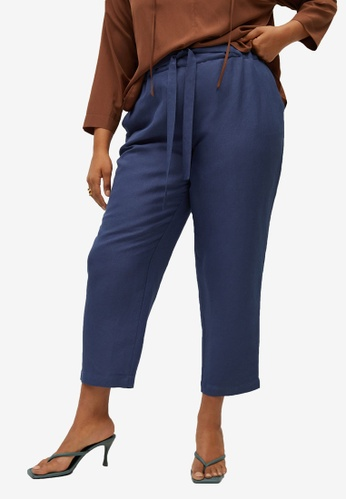 Violeta by MANGO blue Plus Size Cropped Linen-Blend Trousers F126DAA6C35D19GS_1