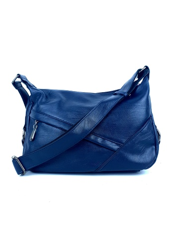 BELLE LIZ blue Trendy Side Zip Ladies Shoulder PU Bag Navy Deep Blue 7EC6DAC95774F3GS_1