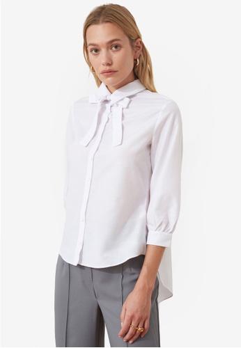 Trendyol white Tie Sash Neck Detail Blouse 77C84AA90B906CGS_1