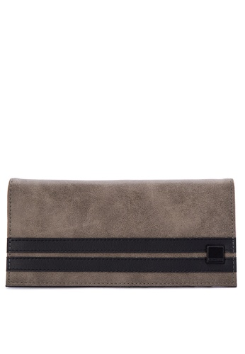 Penshoppe brown Color-Block Synthetic Leather Long Wallet 64451ACF753143GS_1