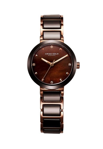 Aries Gold brown Aries Gold Enchant Persia Rose Gold and Brown Watch 970CDAC3788D63GS_1