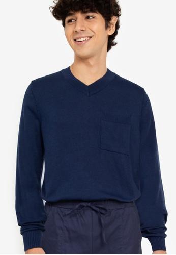 ZALORA BASICS navy V-Neck Patch Pocket Knitwear 7B49BAA6858A3EGS_1