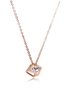Venice Gem In A Cube Necklace (18k Rose Gold Plated)