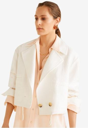 Mango white Cropped Jacket E568CAA2733F04GS_1