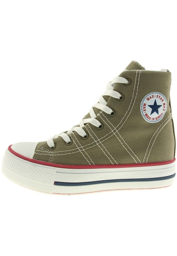 Maxstar 綠色 新款韩国鞋C7-5cm時尚帆布布混合女綠色 US Women Size MA345SH82HFLTW_1