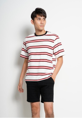 Hi Style red Men Oversize Stripe Short Sleeve Tee FC182AA5935125GS_1