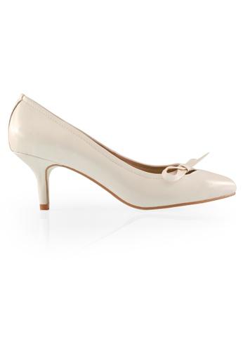 Gripz white Sidebon Almond Toe Heels GR357SH0F3WFSG_1