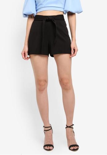 Miss Selfridge black Black Tie Waist Short D2FFAAA9E08B39GS_1