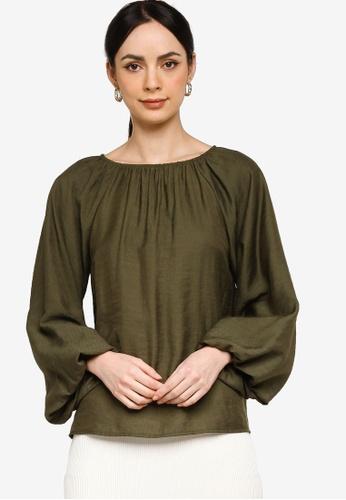 ZALIA BASICS 綠色 Textured Blouse 2D90DAA14EE0DDGS_1