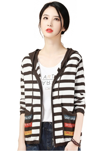 A-IN GIRLS white and brown Fashion Striped Hooded Knitted Jacket 76B79AAAA00923GS_1