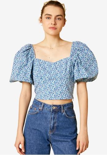 KOTON blue Floral Puffed Sleeves Blouse 04C6BAAC16C782GS_1