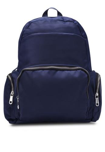NUVEAU navy Lightweight Nylon Backpack NU245AC0S677MY_1