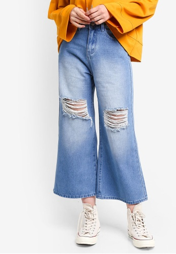 Something Borrowed blue Distressed Wide Leg Jeans 080F4AAABD78D2GS_1