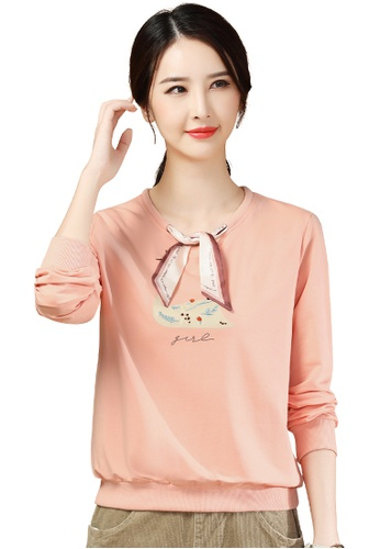 A-IN GIRLS 粉紅色 時尚圓領繫帶衛衣T恤 714FDAAF40514EGS_1