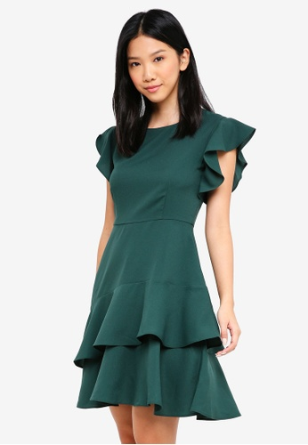 ZALORA green Fit & Flare Dress with Double Layer Hem 73038AAC070DB4GS_1