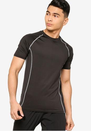 ZALORA ACTIVE black Active Contrast Stitching Raglan T-shirt E1818AAD7061B7GS_1