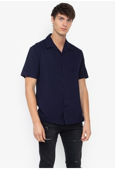 94d86f598f2f Folded & Hung navy Mens Plain Cuban Collar Buttondown Shirt  42D76AA4816649GS_1