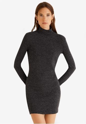 Mango grey Knitted Perkins Neck Dress 8E02BAA6B95C16GS_1