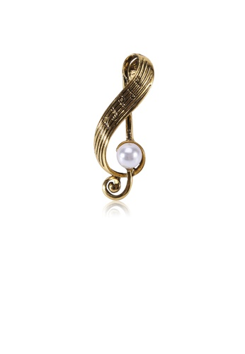 Glamorousky white Simple and Fashion Plated Gold Musical Note Brooch with Imitation Pearls 3CC8EACA9C3999GS_1