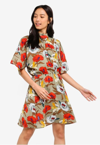 ZALORA green and multi High Neck Fit And Flare Dress 823E7AAF928686GS_1