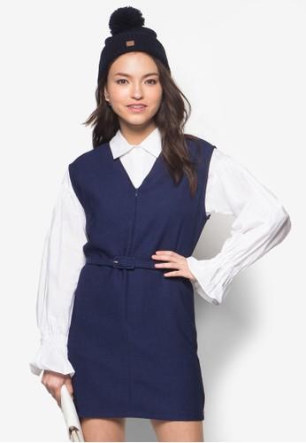 兩件式撞色拼esprit台灣outlet接連身裙, 服飾, 洋裝