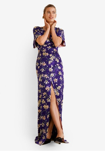 Mango purple Floral Print Dress 64A4DAA5B0861BGS_1