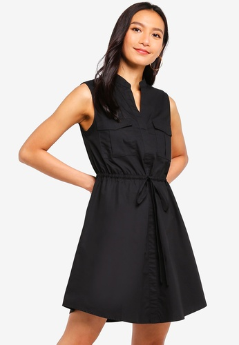 ZALORA black Pocket Front Sleeveless Shirt Dress 9986BAA32992DDGS_1