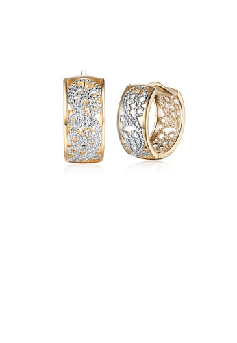 Glamorousky silver Romantic Plated Champagne Gold Cutout Earrings 2E908ACFF5AC08GS_1