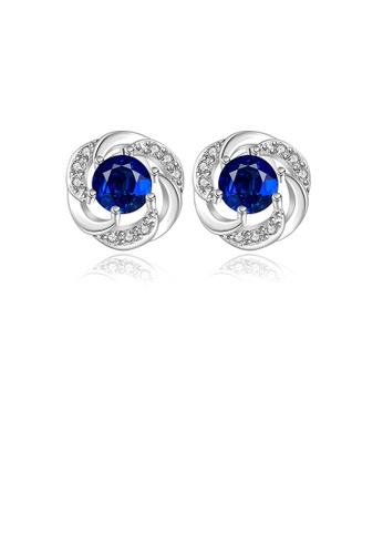 Glamorousky blue Sparkling Elegant Noble Romantic Fantasy Fashion Blue Cubic Zircon Rose Flower Earrings Ear Studs BE0ECACDD2BE64GS_1