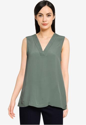 Vero Moda green Kamila Sleeveless V-Neck Top 16636AA1976F28GS_1