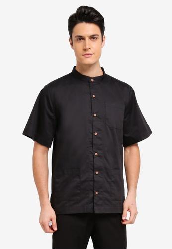 Zalia Homme green Stand Collar Short Sleeve Shirt 20375AAC497E0BGS_1