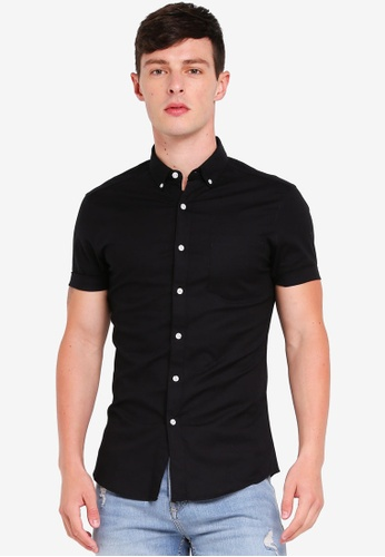 Topman 黑色 Black Muscle Short Sleeve Oxford Shirt 6E834AA8534847GS_1