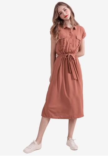 Eyescream red Pocketed Shirt Dress E5B77AA7D3186EGS_1