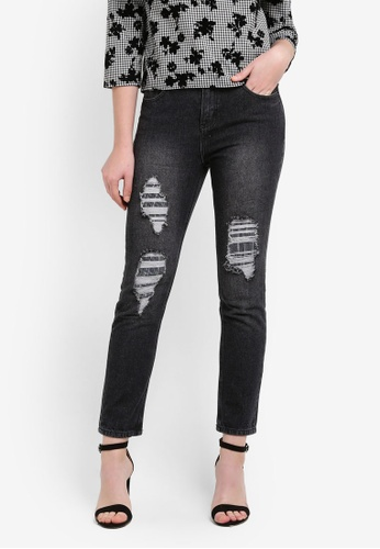 Zalia black Rip Detail Boyfriend Jeans 9B5DBZZ511F59AGS_1