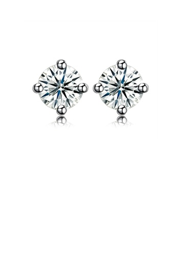 Glamorousky white 925 Sterling Silver Simple Fashion Round Cubic Zirconia Stud Earrings 64277ACB1BCA27GS_1