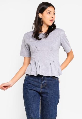 ZALORA 灰色 褶飾T恤 50F17AA3412B6CGS_1