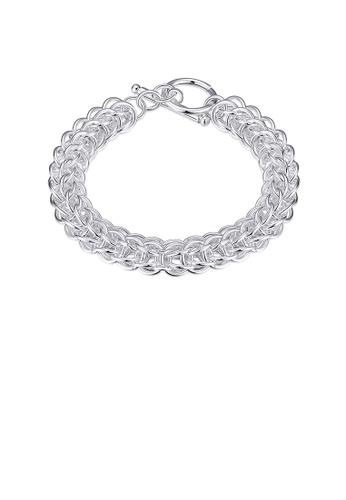 Glamorousky silver Fashion Simple Round Bracelet 2EF42ACE05F0EBGS_1