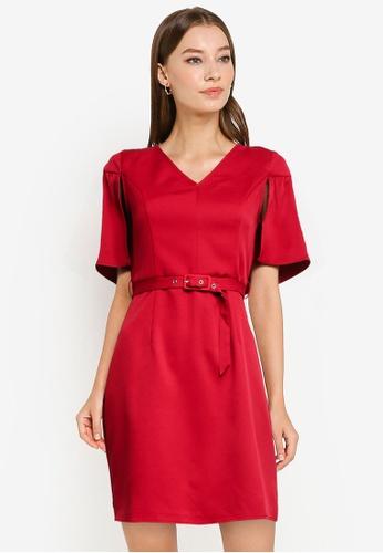ZALORA WORK red Cape Dress With Belt AB9DFAA1A9FC24GS_1