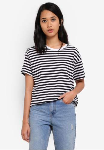 Cotton On black and white TBar Lily Open Back Tee 82A40AAFA08D6CGS_1