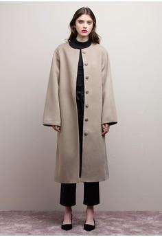 【ZALORA】 圓領羊毛長版大衣