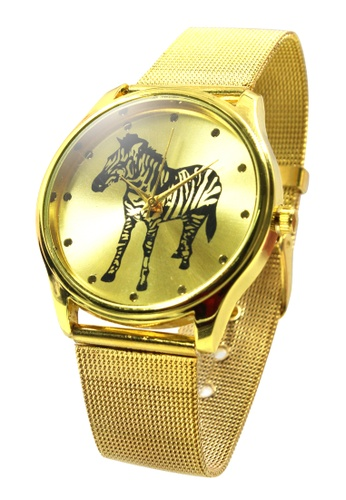 World of Watches gold Maine's Zebra Stainless Strap Watch WO566AC19MYUPH_1