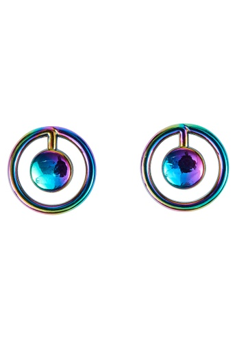 My Flash Trash multi Hologram Planet Stud Earring 1E521AC256AB45GS_1