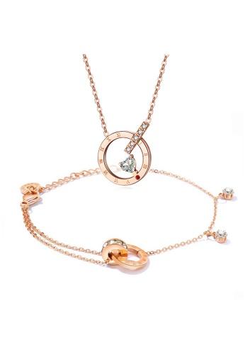YOUNIQ YOUNIQ 18K Rosegold Love O'Clock Necklace & CONNECT Bracelet Set A1C31ACB53C7E2GS_1