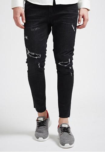 美式經典。補丁工藝。水洗牛仔長褲-07352-黑, 服飾,esprit 台北 直筒牛仔褲