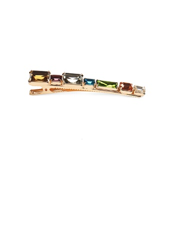 Glamorousky multi and gold Simple and Fashion Plated Gold Geometric Strip Color Cubic Zirconia Hair Clip 83172AC06E650EGS_1