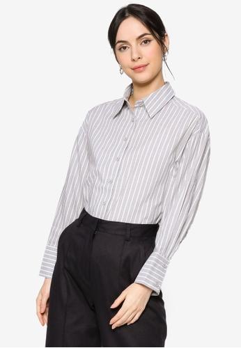 ZALIA BASICS grey Stripes Oversize Collar  Shirt 46BF0AA14BFF3DGS_1