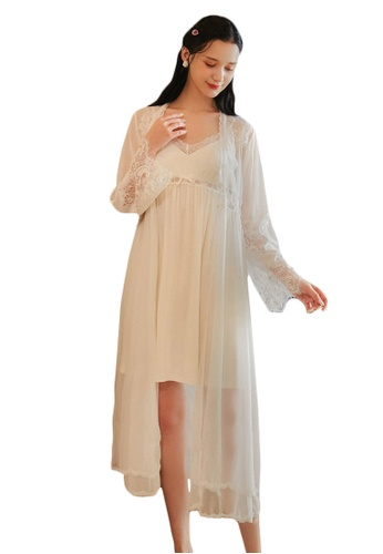 LYCKA white LML1284-Lady Lace Pajamas Two Pieces Set-White 1DDEDAAC6D3CEBGS_1