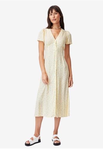 Cotton On yellow Woven Indi Short Sleeve V-Neck Button Through Midi Dress 985BAAA5AF4DFCGS_1